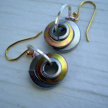 Industrial Earrings Silver and Gold by MaddDoggofTomorrow on Etsy
