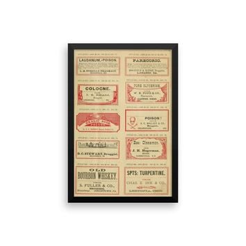 Apothecary Labels Vintage Art Poster