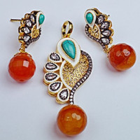 Big Indian Turquoise and Kundan Pendent set
