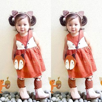 Toddler Kids Baby Girls Fox Clothes Princess Party Pageant Tutu Dresses Sundress