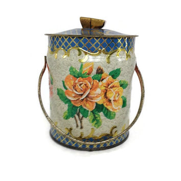 Vintage Murray Allen Tin, Roses Candy Tin, Made in England, Round, Handled, Biscuit Tin, 1950's, Confections Tin,