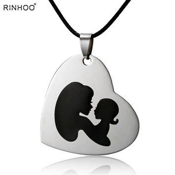Fashion Mother And Child Pendant Necklace Gift For Mom Stainless Steel Heart Love Silver Necklace Mom Baby Family Jewelry Gifts
