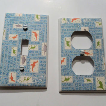 Light Blue Dinosaur Light Switch and Outlet Covers - set of 2