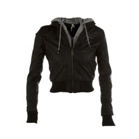 2fer Hooded Pleather Jacket