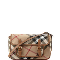 Kids' Check Messenger Bag, Tan - Burberry - Tan