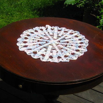 Large Baby Blue and Pink Crochet Doily Round Crocheted Centerpiece Doily Vintage Doily
