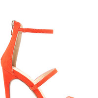 Three Love Orange Suede Dress Sandals