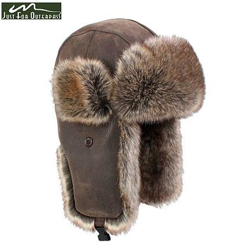 2017 New Winter Casual Brand PU Leather Fur Hats Men Women Windproof Warm Bomber Hats Motorcycle Flight Ear Protection Cap Hi-Q