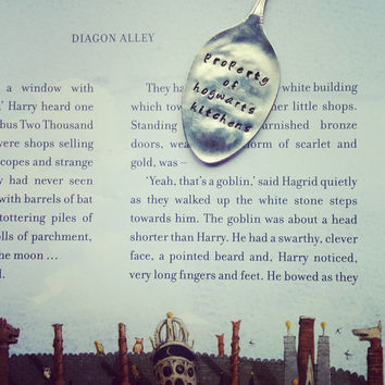 Harry Potter 'Property of Hogwarts Kitchen' Vintage Hand Stamped Teaspoon Book Mark/Page Clip