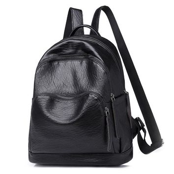 University College Backpack Retro Women Leather   Preppy School Bag for Student Girls Ladies Daily Back PackAT_63_4