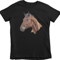 Geometric Horse Girls Princess 100% Cotton T-Shirt