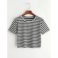 Contrast Striped Tee Black and White