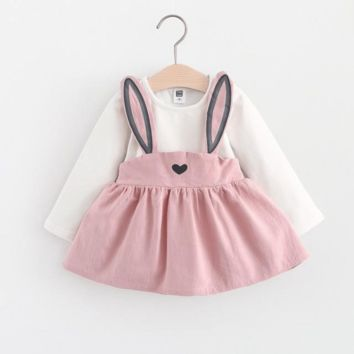 Cute Rabbit Ear Pleated Long Sleeve Dress For Girl