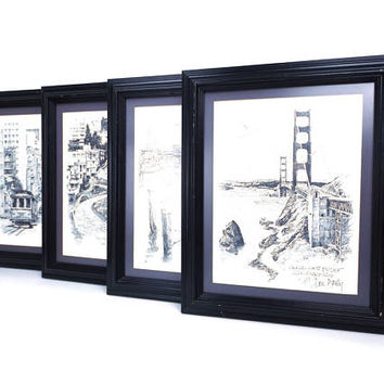 vintage set of 4 art pictures don davey wall artwork framed black white litho lithograph pencil drawing signed artist series san francisco