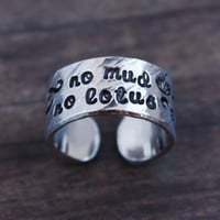 no mud, no lotus, Thich Nhat Hanh quote ring, yoga ring, lotus flower ring, inspirational gift, yoga jewelry, ready to ship RA006