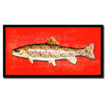 Rainbow Trout Fish Red Canvas Print Picture Frame Gifts Home Decor Nautical Wall Art