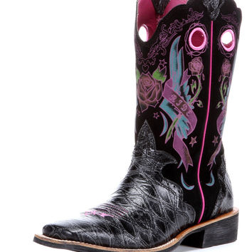 Ariat Women's RodeoBaby Rocker Square Toe Boot - Black Anteater Print/Black Tattoo