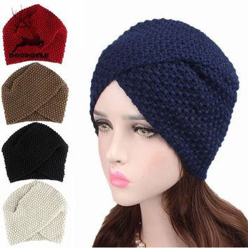 DOUDOULU Winter Hats For Women Elegant Ladies Warm Winter Knitted Hat Cap Gorras Mujer Touca Inverno#ZH
