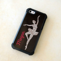 Personalized Phone Case, Cover, iPhone, Samsung Galaxy, Monogrammed Gift for Dancer, Silhouette, Glitter iPhone 5 Case