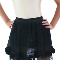 Romantic Black Tulle Net Petticoat Rose Dance Mini Skirt Tutu XS/S