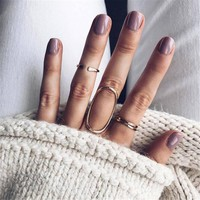 docona Bohemian Gold Color Round Oval Shape Rings Set for Women Geometric Alloy Knuckle Midi Rings Boho Jewelry 6019