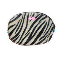 Upcycled Coin Purse  Zebra Print  Zipper Pouch by AccursedDelights