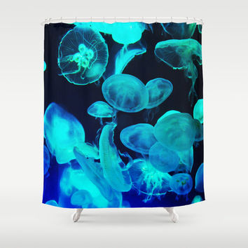 Blue Moon Jellyfish - Shower Curtain, Beach Ocean Nautical Decor, Vanity Bathroom Coastal Accent Hanging Bath Tub Curtain. In 71x74 Inches