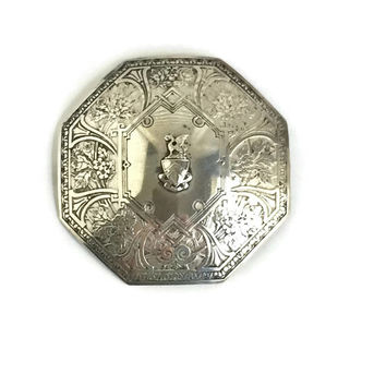 William B Kerr Antique Sterling Silver Sash Pin, Kerr Cloak Brooch, Shield Brooch, Coat of Arms Brooch, Large Brooch for Sash, Cloak, Skirt