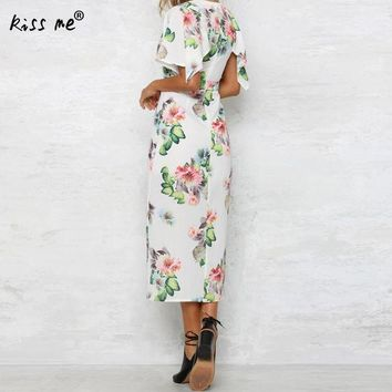 ESBONRZ white deep V front slit Dress floral print tunics for beach cover ups robe de plage sheer cover up dress pareo praia beach tunic