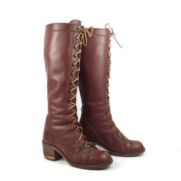 Lace Up Boots Vintage 1970s Town and Country Tall Burgundy Brown Leather Women's  size 6 1/2