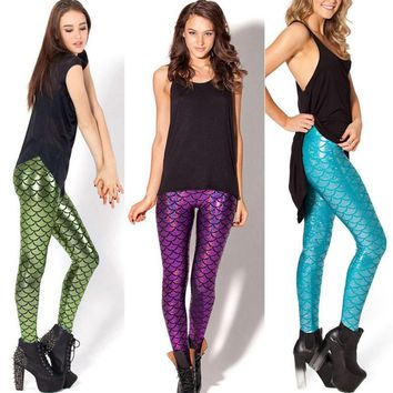 Fish Scale Mermaid Printed Leggings