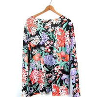 70s Floral Blouse Colorful Flower Print Slip Top Long Sleeve Mod Shirt Garden Print Slip Over Hippie Boho Shirt Daisies Poppies Women Medium