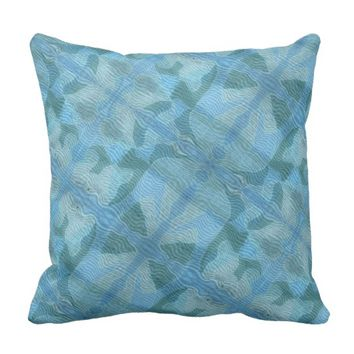 Abstract Blue Asian Graphic Design Pillow