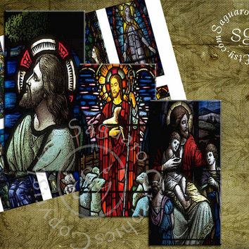 Stain Glass Christianity - Digital Collage Sheet - Domino 2x4 inch Artwork for Pendants, Jewelry Suppies - sg387
