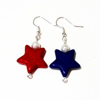 4th of July Earrings, Red, White and Blue Gemstone Stars Patriotic Silver Dangle Earrings, American Patriotic Jewelry