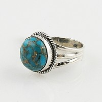 Blue Copper Turquoise Sterling Silver Ring