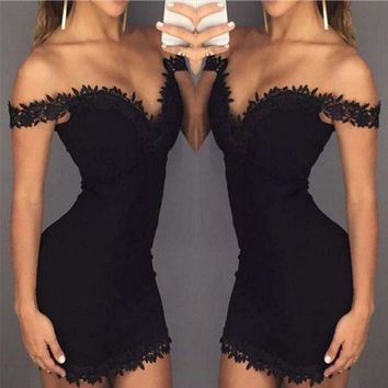 Black Appliques Sheath Short Off Shoulder Homecoming Dress