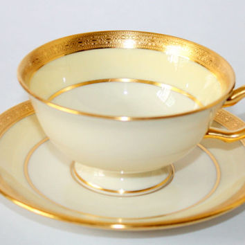 Footed Cup & Saucer Set In The Madison Pattern By Lenox China