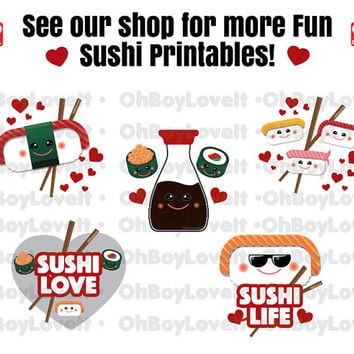 Sushi Planner Stickers, Printable pdf / jpg    Erin Condren, MAMBI Happy Planner, Glam Planning Made Easy, ECLP - Sushi Lover