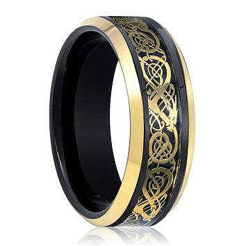 Black Tungsten Polished w/ Gold Celtic Design Cutout Inlay