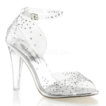 Pleaser Female 4 1/2 Inch Heel Open Toe Ankle Strap D'orsay Sandal With Rhinestone CLE430RS