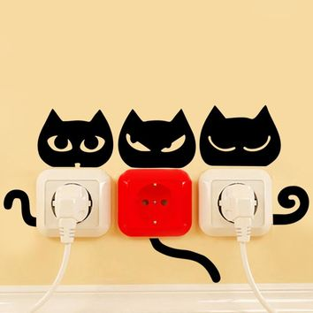 4 styles funny black cats eye tail switch stickers cats animal wall stickers home decor living room kitchen light socket decals
