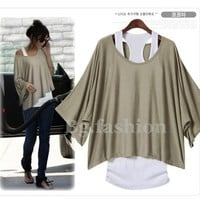 Sz S M L XL XXL Women's Loose Tops Batwing T-Shirt 2 PCS Blouse+Tank Casual Vest