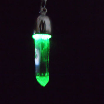 REAL Clear Quartz Point Crystal Glow in the Dark Gem Night Light