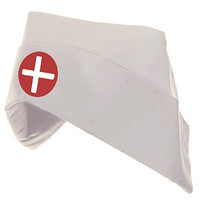 Adult Women's Nurse Hat Costume Bonnet White