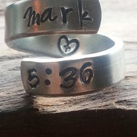 "Mark 5:36  ""Don't be afraid; just believe."" heart and cross inside spiral hand stamped"