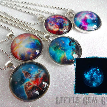 Glow in the Dark Galaxy Necklace - Nebula Necklace Galaxy Pendant - 5 Colors Available 1 inch Glass Silver or Copper w/ 24 inch Ball Chain