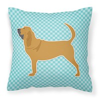 Bloodhound  Checkerboard Blue Fabric Decorative Pillow BB3684PW1818