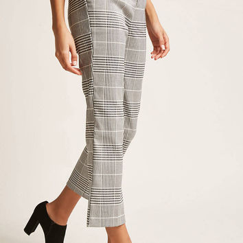 Glen Plaid High-Rise Pants