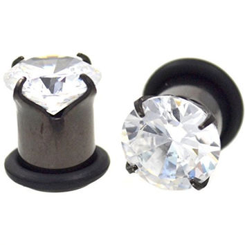 Pair of Prong Set Clear CZ Gem Ear Plugs Single Flared Black Titanium Plated Gauges - 00G 10MM